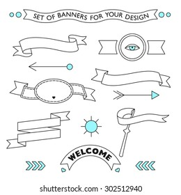 Vector set of elements for your stylish design. Ribbons, banners, arrows, labels. Geometric signs.