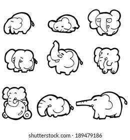 vector set of elephant
