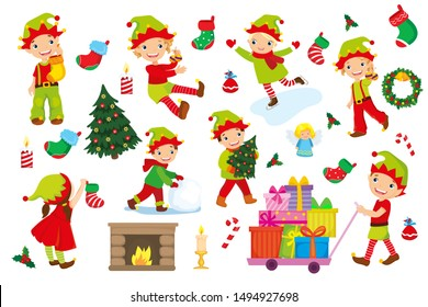 Vector set of elves getting ready for Christmas