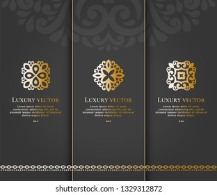 Vector set of emblem. Elegant, classic elements. Can be used for jewelry, beauty and fashion industry. Great for logo, monogram, invitation, flyer, menu, brochure, background, or any desired idea.