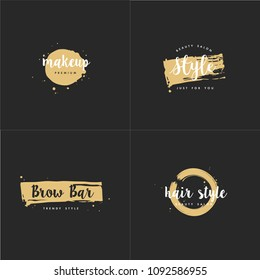 Vector set of emblems, badges and logo design templates for beauty shops, hairdresser's, brow bar and makeup with with round spots and brush stroke. Golden syle