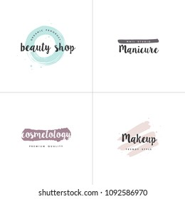 Vector set of emblems, badges and logo design templates for beauty shops, manicure, cosmetology and makeup with with round spots and brush stroke