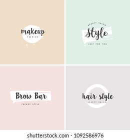 Vector set of emblems, badges and logo design templates for beauty shops, hairdresser's, brow bar and makeup with with round spots and brush stroke