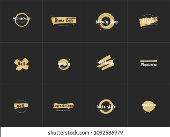 Vector set emblems, badges or logos design templates for nail studio, beauty shop sign with round spots and brush stroke. Golden syle
