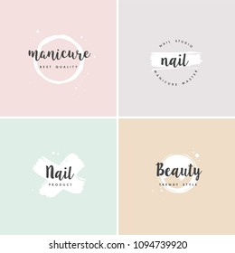 Vector set emblems, badges or logos design templates for nail studio, beauty shop sign with round spots and brush stroke