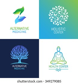 Vector set of emblems and logo design templates on bright gradient colors - alternative medicine and wellness centers - tree and herbal icons, yoga and hands concepts