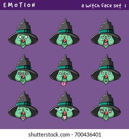 Vector set emotion of a Witch, Emoji for web design, gimmicks for halloween.