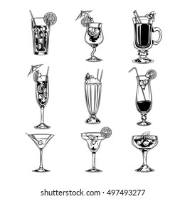Vector set of empty cocktail glasses
