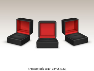 Vector Set of Empty Red and Black Velvet Opened gift jewelry boxes Close up Isolated on White Background