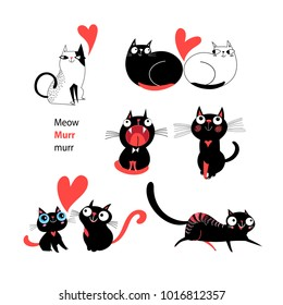 Vector set of enamored cats on white background