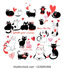 Vector set of enamored cats on white background. Template for business cards postcards web design.