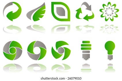 Vector Set of environmental awareness icons isolated on white