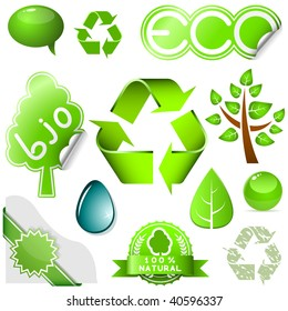 Vector set of environmental icons and labels isolated on white background.