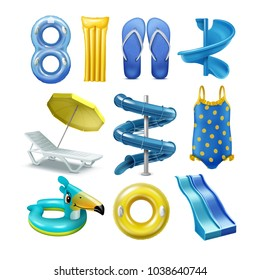 Vector set of equipment and accessory for water pool park sliders in yellow and blue color. Isolated on white background