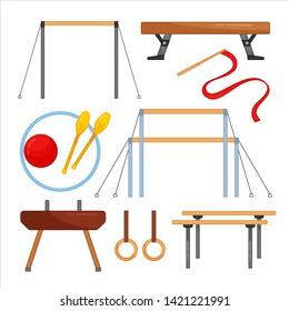 Vector set of equipment for gymnastics. Sports equipment for rhythmic and sports gymnastics.