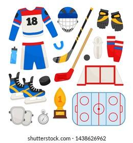 Vector set of equipment for hockey. Cartoon illustrations of hockey form, stick, helmet, gate, field.