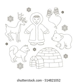Vector set of eskimo characters