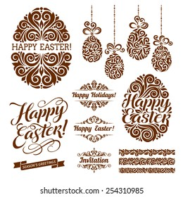 Vector set of Ester holidays decor. Vintage borders, eggs, calligraphic and pattern elements