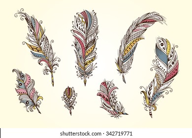 Vector Set of Ethnic feather. Hand Drawn Tribal Feathers. Decorative feathers. Vintage colored Feather.