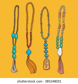 Vector set ethnic jewels with rocks and tassels in bohemian style