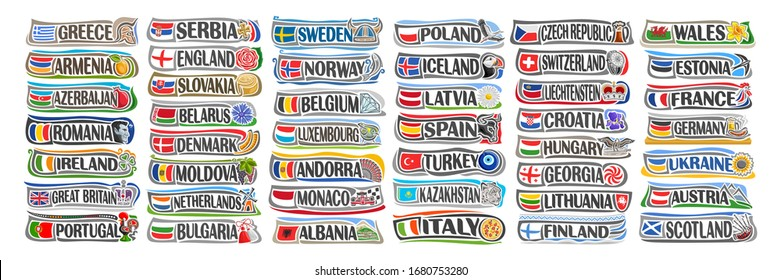 Vector set of European Countries with flags and symbols, 44 isolated horizontal labels with national state flags and brush font for different words, tourist stickers for european independence day.