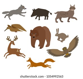 Vector set of european forest animals flat cartoon style e hand drawn foorest wolf boar deer woodcock bear rabbit bunny owl lynx fox