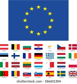 Vector set of the European union member countries flags