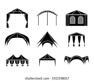 Vector set of event tent illustrations. Simple style.