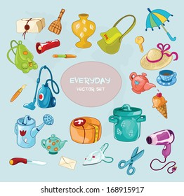 Vector set with everyday common things