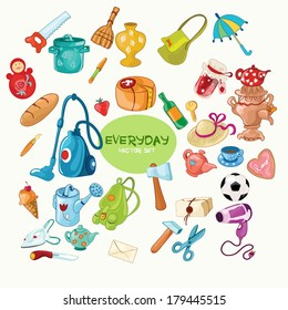 Vector set with everyday common things isolated