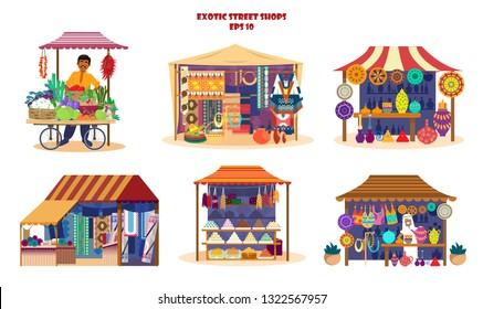 Vector set of exotic street shops in flat cartoon style. Asian market set. Vegetables cart with merchant, pottery shop, fabrics and carpets shop, asian sweets, Mexican souvenirs.