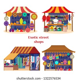 Vector set of exotic street shops in flat cartoon style. Asian market set. Spices shop with merchant, pottery shop, fabrics and carpets shop, souvenirs shop.