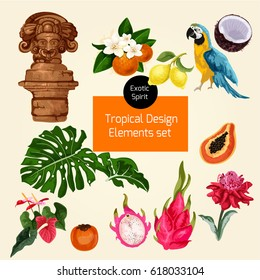 Vector set of exotic tropical jungle elements. digital watercolor set of icons.