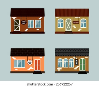 Vector set of exterior buildings shop city elements in retro flat style including coffee shop, pizza cafe, restaurant, ice cream magazine; bar; pub;