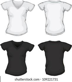 03f1bb49f0395 vector set f black white female v-neck shirt template