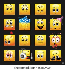 Vector set of face icons. Vector set of face icons with different face expression.
