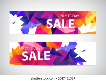Vector set of faceted 3d shape sale banners. Use for web, ad, brochure, flyer. Product promotion, special offer