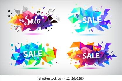 Vector set of faceted crystal sale banners, triangles composition. Modern 3d shape
