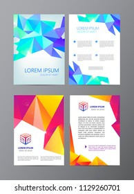 Vector set of faceted flyers, brochures, covers. Geometric astract background with logo.