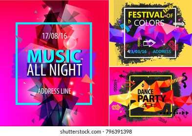 Vector set of faceted modern shiny posters, brochures, cards, flyers. Party, music festival, festival of colors.
