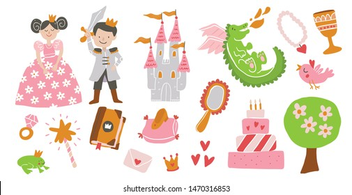 Vector set of fairy tale story elements -princess, prince, castle, diamond ring, love, cinderella shoe, frog, dragon, crown, magic wand. Vector princess. Fairy tale vector illustration - Vector