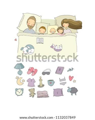 ee739c8b76 Vector Set Family Sleeping Bed Cartoon Stock Vector (Royalty Free ...