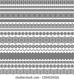 Vector set of fancy seamless brushes in oriental motifs. For frames, boarders, braid, edging in the lush eastern style. Traditional patterns for design of greeting cards, wedding invitations, textiles