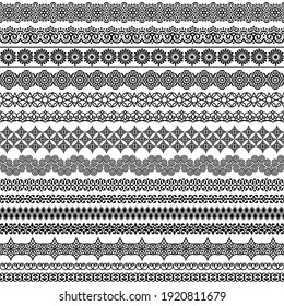 Vector set of fancy seamless brushes in oriental motifs. For frames, boarders, braid, edging in the lush eastern style. Elegant patterns for design of greeting cards, invitations, print textile, paper