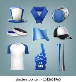 Vector set of fans accessories in white and blue colors. Isolated on background