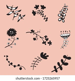 Vector set of fantastic unusual flowers, cherry, blossom. Useful for decorating invitations, backgrounds, advertising, banners, cards, toys, packaging, clothes, books, baby products.