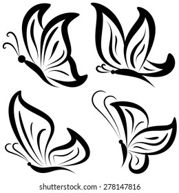 Vector Set of Fantasy Butterflies. Hand-Drawn Ornate Butterflies Isolated on White Background