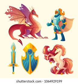 Vector set of fantasy game design objects isolated on white background. Knight in armor, red dragon, fantastic unicorn, magic shield, royal sword. Magical characters, ui concept.
