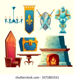 Vector set of fantasy items, fairy tale game design objects for interior isolated on white background. Knight in armor, flag, fireplace, chest with treasure, throne, table, swords and shield