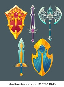 Vector set of fantasy items, fairy tale game design objects isolated on grey background. Golden sword with crystal, silver knife, blade, gilded magic shield, viking sharp axe for medieval concept.